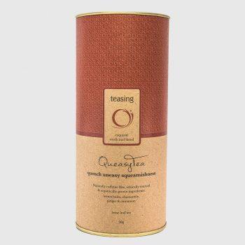 Teasing QueasyTea product canister